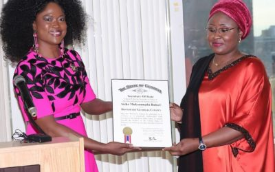 Dr. Queen Blessing, Visionary Founder, Global Empowerment Movement (GEM) Corporation, USA Bestowed on Her Excellency Mrs. Aisha Buhari, the Firstlady of Nigeria, the Distinguished Global Award for Excellence in Women Empowerment and Gender Development.