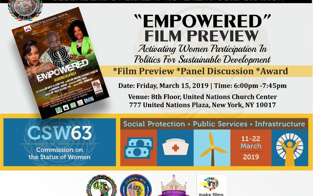 PRESS RELEASE: Global Empowerment Movement (GEM) USA Corporation to host the Sixty-Third Annual Commission on the Status of Women (CSW63) Event